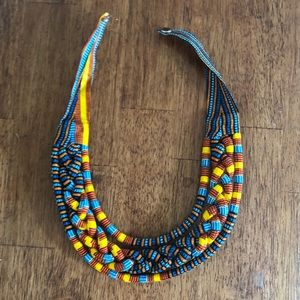 { south african } colorful print bib necklace
